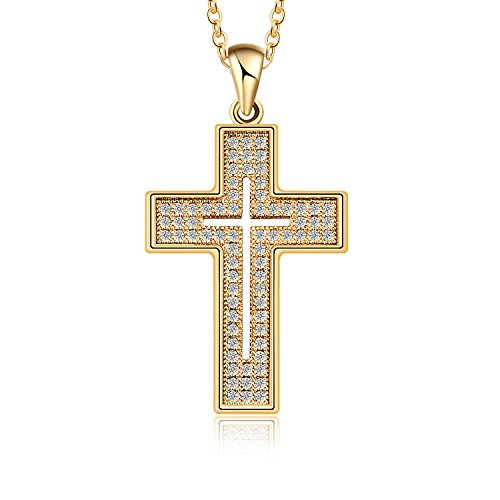 Cubic Zirconia Gold Plated Necklace (AKVODE 18K Gold Plated AAA Cubic Zirconia Cross Necklace for Women Jewelry (Yellow Gold))
