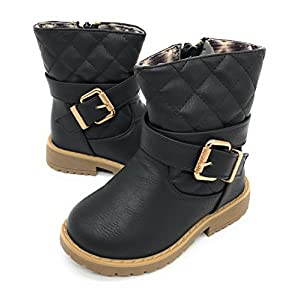 Blue Berry EASY21 Girls Zip Mid Calf Motorcycle Toddler/Infant Winter Boots WARM-19F,Black 19,Size 10