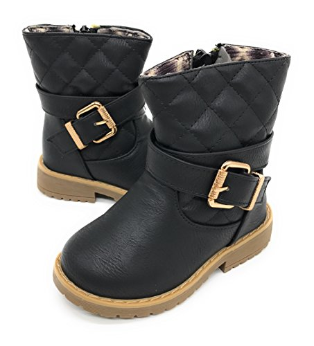 Blue Berry EASY21 Girls Zip Mid Calf Motorcycle Toddler/Infant Winter Boots WARM-19F,Black 19,Size 4