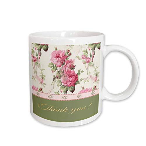 3dRose Beverly Turner Thank you Design - Pink Vintage Look Roses, Ribbon Look, Pearled Jewel Look, Thank you - 15oz Two-Tone Green Mug (mug_216643_12)