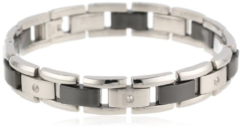 Men's Stainless Steel and Black Ceramic Bracelet with 0 .105 cttw ()