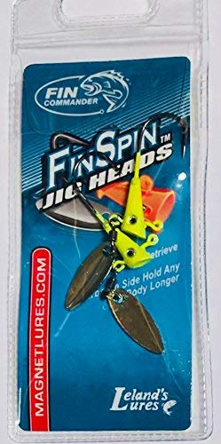 Fin Commander 17002 Fin Spin Jig Head, 2pc Pack, 1/16 oz, Chartreuse