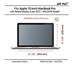 """15 Inch MacBook Pro (Retina Display) Magnetic Privacy Screen Filter (Apple Model A1398), best removable Anti Glare Protector Film for data confidentiality - compare to 3M (MacPro 15"""")"""