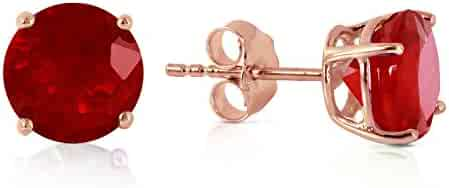 14k Solid White, Rose, Yellow Gold Ruby Stud Earrings with 3.5 carats (CTW) Genuine Ruby- 3487