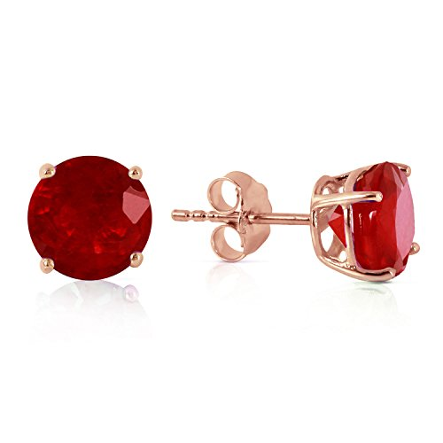 (Galaxy Gold 14k Solid Rose Gold Stud Earrings with 3.5 carats Natural Genuine Ruby (rose-gold))