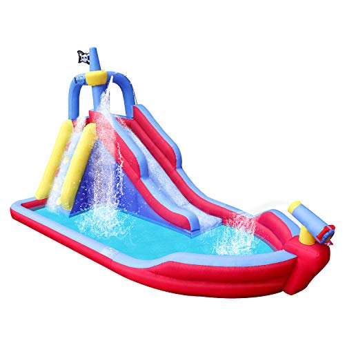 BestParty Pirate Boat Inflatable Water Slide Water-Park Bounce House with Blower