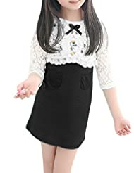 uxcell® Girls 3/4 Sleeves Lace Shrug w Ribbed Tank Dress Sets