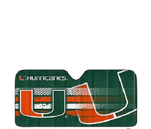 Team ProMark NCAA Miami Hurricanes Deluxe Universal Fit Auto Windshield Sun Shade