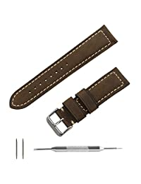 Benchmark Straps 20mm Oiled Leather Watchband in Dark Brown