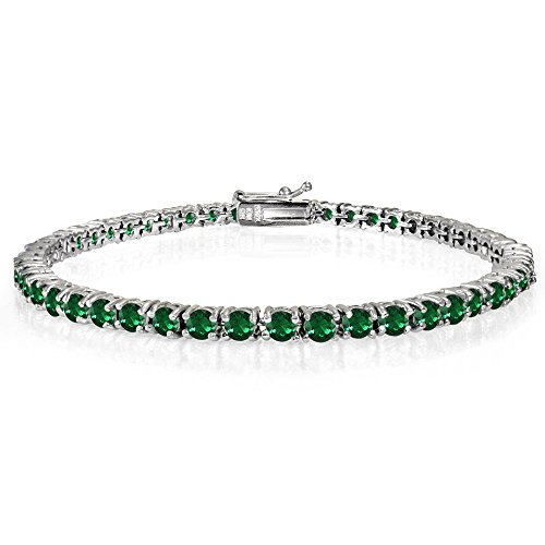 (Ice Gems Sterling Silver Created Emerald 3mm Round Tennis Bracelet)