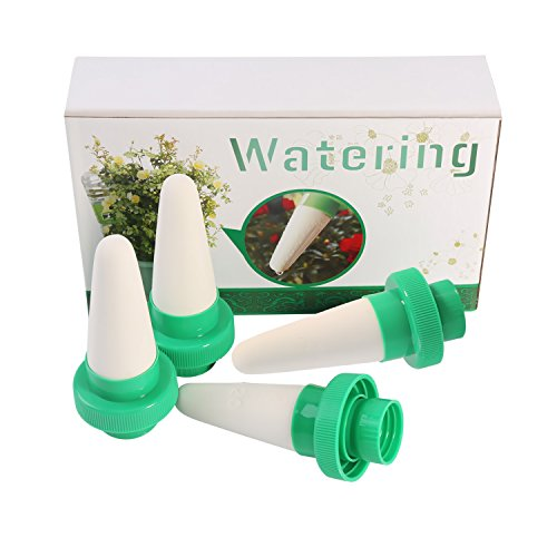 UPC 607994563278, Most Easy-Use Vacation Plant Waterer, 4 Pack Watering Stakes/ Spikes, Automatic Slow Release Plant Watering Device Slow Release for Outdoor & Indoor Use