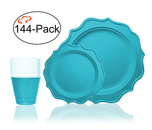 Tiger Chef 144-Pack Turquoise Color Heavy Scalloped Rim Disposable Party Supplies Set for 48 Guests, includes 48 10-Inch Dinner Plates, 48 8-Inch Hard Plastic Plates and 48 9-Ounce Cups - BPA-Free