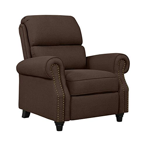 Domesis Cortez Push Back Recliner Chair in Brown Linen