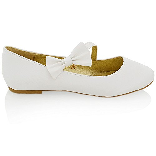 Bow Synthetic Satin Bridal Strap GLAM Womens Pumps White Shoes Flat ESSEX qCwOZUxxt
