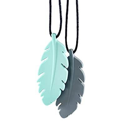 Bumkins Nixi Feather Silicone Pendant Teething Necklace, Gray : Baby