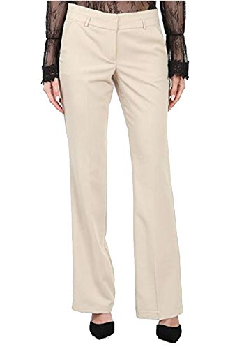 Maryclan Career Women's Dress Pants Little Boot But with Narrow Belt Loop (Large, Khaki) by Maryclan