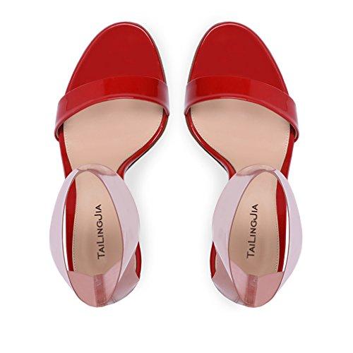 CLOVER Rosso LUCKY Court Sandali Tacchi Pompe Sandali EU35 Sposa 46 CM Scarpe Incontri PU EU34 Nero A 10 Alti Vestito Donna Office Red Shoes Party Sposa Da d7w1qw