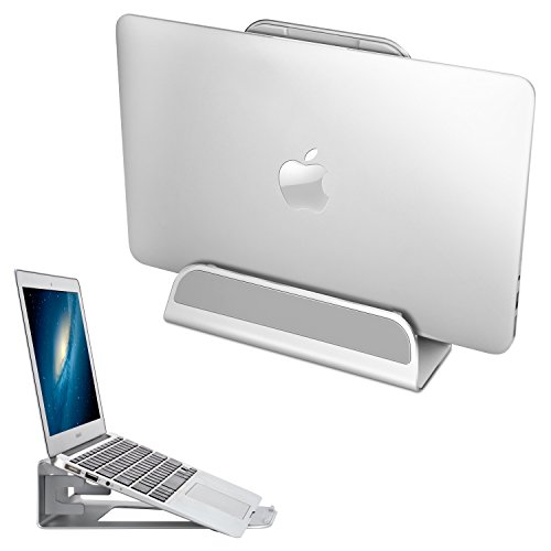 Vertical Laptop Stand, APPHOME 2 in 1 Aluminum Adjustable Desktop Holder Space-saving Display for APPLE Notebooks Macbook Pro / Air