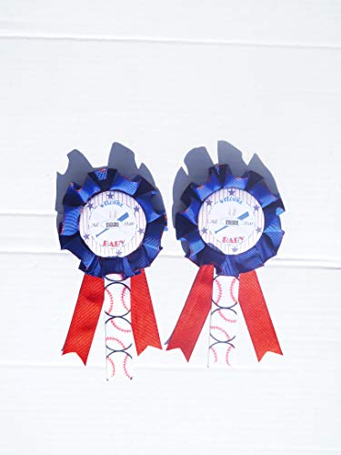 Sports BaseBall Baby Shower Themed Corsage For Mom and Dad To Be Badge (Red, Blue -