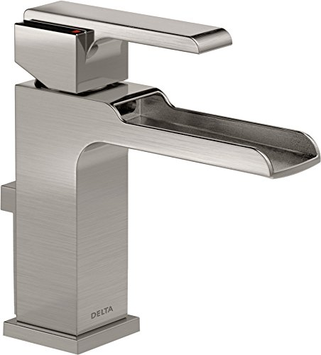 Handle Waterfall Single (Delta Faucet Ara Single-Handle Waterfall Bathroom Faucet with Metal Drain Assembly, Stainless 568LF-SSMPU)