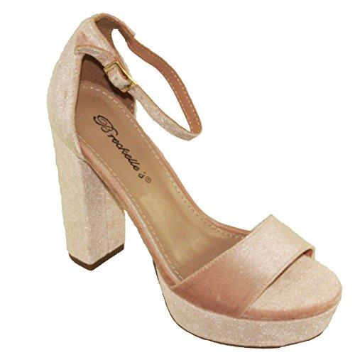 Breckelles Womens Bella-34 Velvet Adjustable Ankle Strap Platform Block High Heels Blush kISc0I