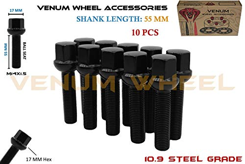 Venum wheel accessories 10 Pc 55 mm Ball Seat Lug Bolts M14x1.5 Extended Shank Length Radius Works with Volkswagen Audi Mercedes Benz Porsche Vehicle W/Factory -
