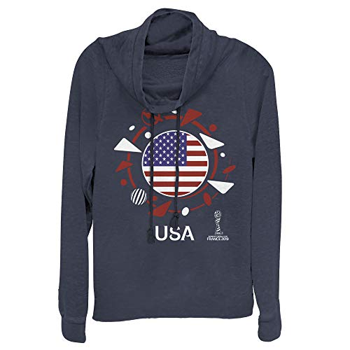 - Fifth Sun FIFA Women's World Cup France 2019 Juniors' USA Circle Flag Navy Blue Cowl Neck Sweatshirt