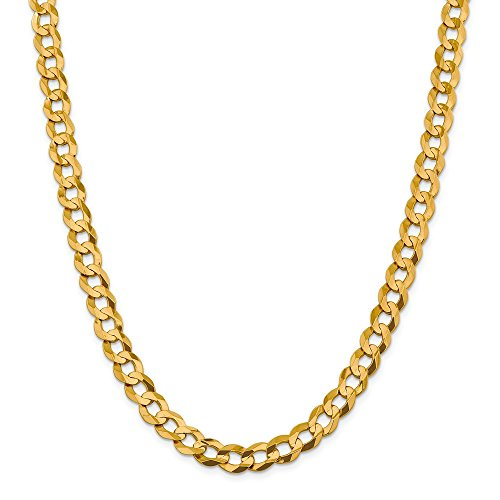 14k Yellow Gold 9.4mm Solid Flat Cuban Chain Necklace 24 Inch Pendant Charm Curb Miami Fine Jewelry Gifts For Women For Her