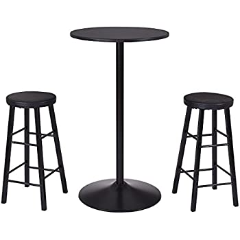 Costway 3 Piece Bar Stool Table Set Bistro Kitchen Dining Furniture (Round  Bar Table)
