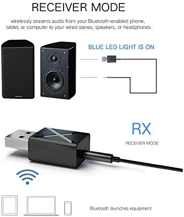 RONSHIN 2 in 1 Bluetooth 5.0 Transmitter Receiver 3.5mm Wireless Stereo Audio Adapter Electronics etc etcselectronic