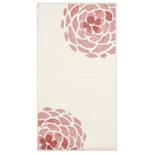 (Evolur Home Madison Blooming Peony Nursery Rug/Bedroom/Livingroom/BabyPlaymat/ChildrensRug/PlayRug/KidsRug/Floormat 55'x31.5' in Rose Quartz and Ivory)