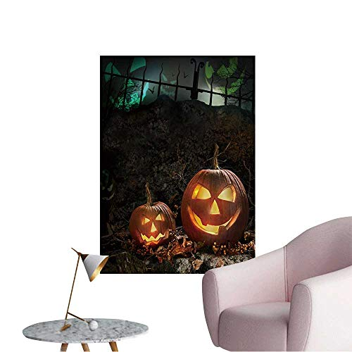 Wall Decals Halloween Pumpkins on Rocks in a Forest at Night Environmental Protection Vinyl,28