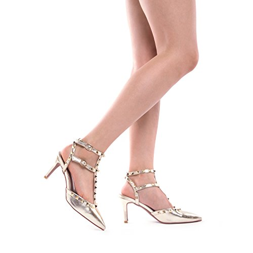 PAIRS DREAM Low Rockstar PU Shoes Toe LOW Stilettos Women's Pump Fashion Pointed GOLD dwx1xU