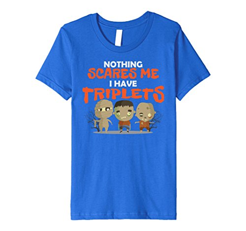 [Kids I Have Triplets Funny Triplet T-shirt for Halloween Parent 8 Royal Blue] (Funny Triplet Costumes)