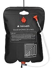 Navaris Ducha Solar para Camping 20 L - Bolsa Plegable para Ducha portátil de Agua Caliente - con alcachofa y Manguera - Senderismo excursiones Surf
