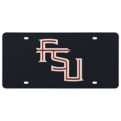 Mirrored License Plate with Stacked FSU Black