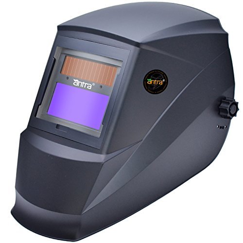 Antra AH7-220-0000 Solar Power Auto Darkening Welding Helmet with AF-220i Shade 9-13 with Grinding Feature Extra lens covers Good for TIG MIG MMA