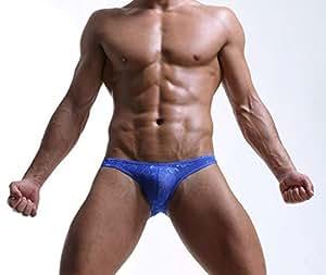 Mens Underwear, Sexy Breathable Underwear Jacquard Weaving Underwear for Men, Low Waist U Convex Men Underwear for Home Gifts Gifts (Color : Blue, Size : M)