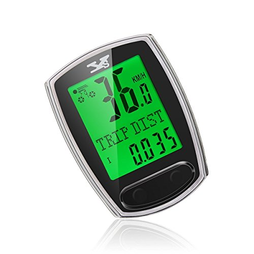 TAIR Bike Computer Smart Odometer Green Backlight LCD Bicycle Speedometer Waterproof Wired Bike Odometer Multifunctional Cycling Computer (Green Cycling Computer compare prices)