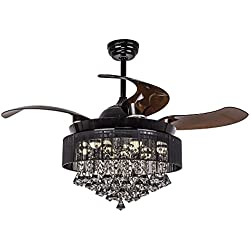 "Parrot Uncle Ceiling Fans with Lights 42"" Modern Black Ceiling Fan Retractable Blades Crystal LED Chandelier Fan with Remote Control Fandelier, 4000K Cool White, Not Dimmable, 2 Down-rods Included"