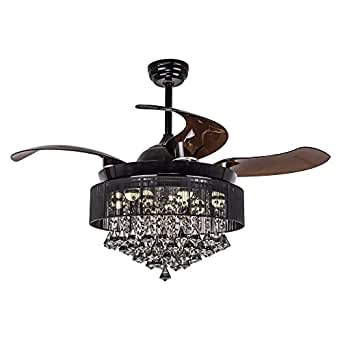 """Parrot Uncle Ceiling Fans with Lights 42"""" Modern Black Ceiling Fan Retractable Blades Crystal LED Chandelier Fan with Remote Control Fandelier, 4000K Cool White, Not Dimmable, 2 Down-rods Included"""