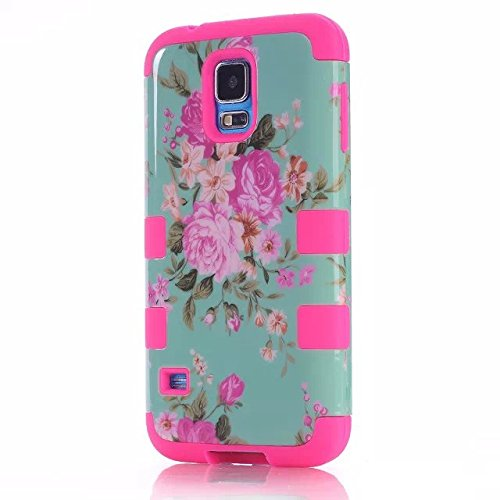 Galaxy S5 Cases, Vogue Shop Beautiful Design Hybrid Peony Flower Hard Cover for Samsung Galaxy S5 Three Layer Elegant Floral Flower Scratchproof Dustproof Shockproof Durable Hybrid (Three Month Warranty) (hotpink)