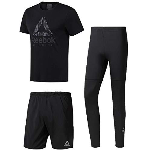 【50%OFF】 ランニングウェア 3点セット ジム メンズ リーボック Reebok 半袖Tシャツ タイツ パンツ タイツ D92935 Reebok CY4683 D92941/男性用 マラソン ジョギング トレーニング ジム スポーツウェア/Reebok-Eset B07G68M27S (D92935)ブラック L, Chloris-flower:a601b1ff --- classikaplus.ru