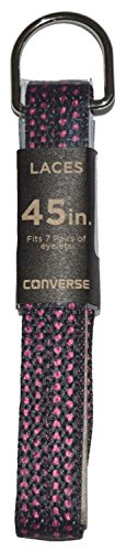 Converse Unisex Replacement Cord Shoe Laces Flat Style Shoelaces (Black Pink Polka Dot, 45)
