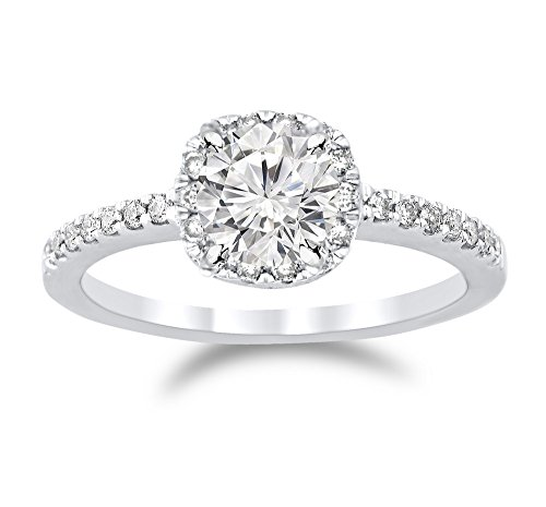 1.77 Cttw 14K White Gold Round Cut Classic Cushion Halo Diamond Engagement Ring with a 1.5 Carat I-J Color I2 Clarity Center