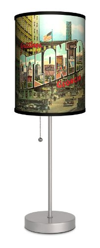 Lamp-In-A-Box SPS-TRV-ATLAN Travel ''Atlanta Postcard'' Sport Silver Lamp by Lamp-In-A-Box