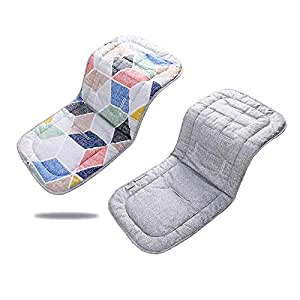 Baby Stroller Cushion, Cotton Infant Stroller Breathable Stroller Car High Chair Seat for 4 Seasons Double Sides 31''x 13'' (Pink Polygon+Gray)