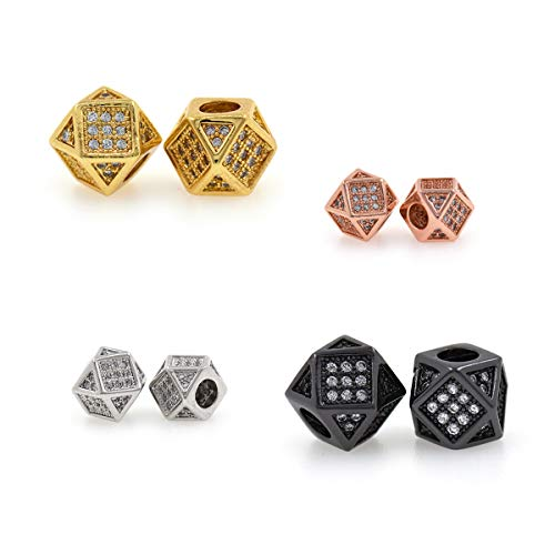 (Cube Bead,Micro Pave CZ Stone Metal Square Spacer Beads,Bracelet Charms,DIY Jewelry Findings 7x7mm 10Pcs (MixColor) )