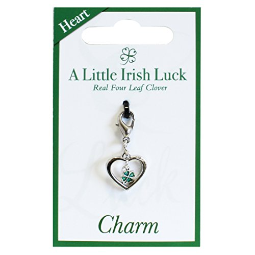 Heart Charm With Green Four Leaf Clover  - Green Gold Claddagh Charm Shopping Results