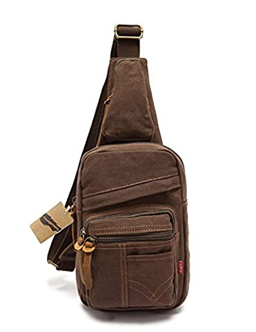 Youngerbaby Cool Outdoor Sports Casual Canvas Unbalance pack Crossbody Sling Bag Shoulder Bag Chest Bag for Men